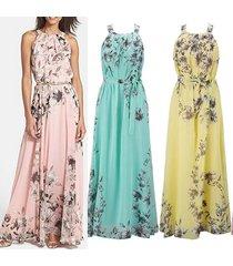 hot summer women's fashion boho long maxi dress sleeveless lady beach dresses su