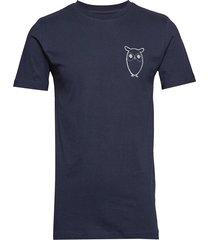 alder owl chest tee - gots/vegan t-shirts short-sleeved blå knowledge cotton apparel