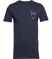 alder owl chest tee - gots/vegan t-shirts short-sleeved blå knowledge cotton apparel