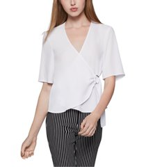 bcbgeneration belted wrap blouse