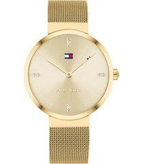 tommy hilfiger women's gold-tone stainless steel mesh bracelet watch 35mm
