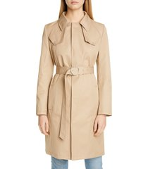women's maison margiela cotton canvas belted trench coat, size 6 us / 42 it - brown