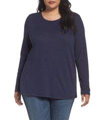 plus size women's caslon long sleeve crewneck tee, size 2x - blue