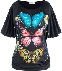 plus size batwing sleeve butterfly print tee