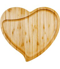 petisqueira formato de coraã§ã£o bambu welf - marrom - dafiti