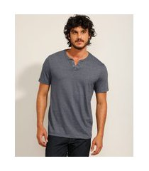 camiseta masculina básica manga curta gola portuguesa azul escuro