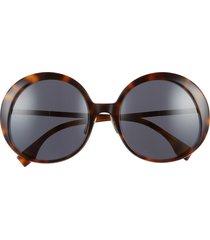 women's fendi 57mm round sunglasses - havana brown/ grey blue