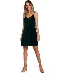 korte jurk moe m560 fluwelen mini-jurkje met spaghettibandjes - groen
