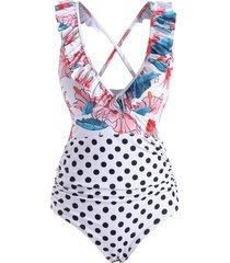 ruffle polka dot flower criss cross one-piece swimsuit