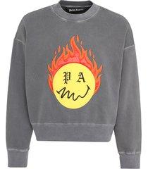 palm angels cotton crew-neck sweatshirt