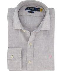 linnen overhemd ralph lauren grijs slim fit