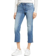 petite women's nydj sheri rivet side slit crop slim jeans, size 16p - blue