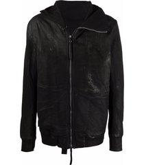 boris bidjan saberi distressed hooded jacket - black