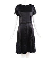 dolce & gabbana black silk flared midi dress black sz: s