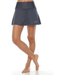 falda con licra interior,  color gris osc para mujer