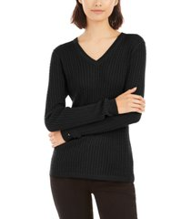 tommy hilfiger ivy cable v-neck sweater, created for macy's