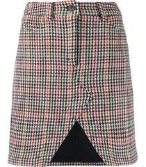 zadig & voltaire houndstooth open-front skirt - neutrals