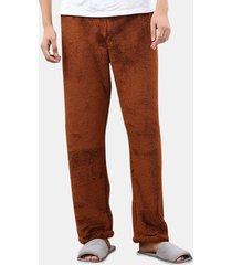coral fleece pure color addensare caldo pajama coppia pantaloni