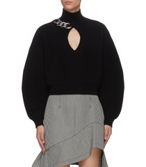 chain embellished keyhole crop top