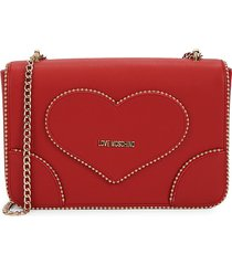 love moschino women's studded logo chain crossbody bag - red