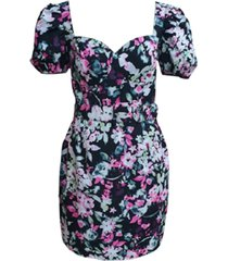 bar iii belted floral-print bustier dress, created for macy's