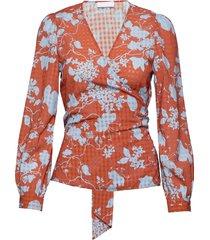 2nd harlow flowy blouse lange mouwen oranje 2ndday