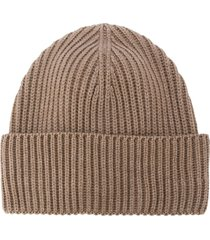 lardini chunky knit beanie - brown