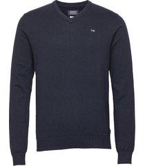 classic v-neck stickad tröja v-krage blå sebago