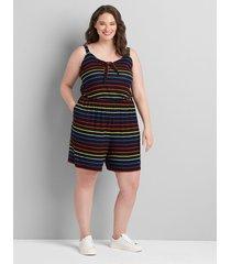 lane bryant women's tie-neck romper 26/28 rainbow stripe