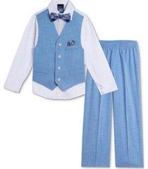 nautica baby boys bold shirt, dobby vest, pants & bowtie set