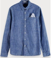 scotch & soda denim overhemd met vaste pochet | regular fit