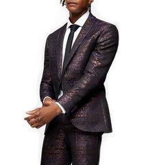men's topman gascon skinny fit jacquard suit jacket, size 40 r - purple