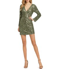 mac duggal sequin stripe long sleeve cocktail dress, size 10 in olive at nordstrom