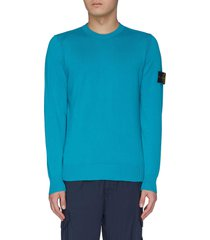 contrast logo patch sleeve sweater
