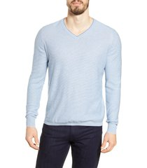 men's bugatchi microstripe v-neck sweater, size xx-large - blue