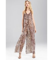 natori shadow leopard jumpsuit, women's, 100% silk, size l