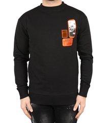 sustain patches oversized sweater zwart