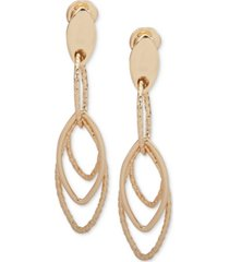 anne klein gold-tone e-z comfort clip-on large linear drop earrings