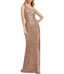 women's mac duggal sequin one-shoulder column gown, size 0 - metallic