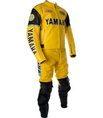 yamaha motorcycle yellow racing leather suit jacket pants safety protected men
