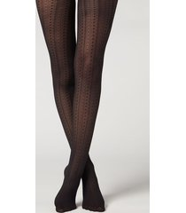 calzedonia eco-sustainable q-nova vertical pattern tights woman black size 3/4