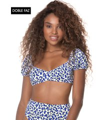 traje de baño top blanco-azul maaji now is now kauai swim crop top