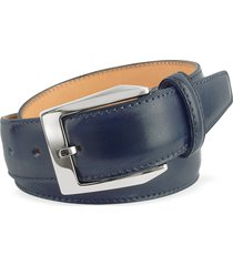 pakerson designer men's belts, men's blue hand painted italian leather belt