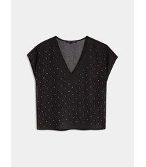 blusa semi transparente con apliques brillantes