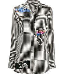 diesel striped patch-work shirt - white