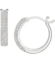 1/2 ct. t.w. round shape diamond hoop earring in sterling silver