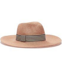 'emmanuelle' stripe ribbon straw hat