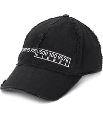 diesel distressed denim baseball cap - black