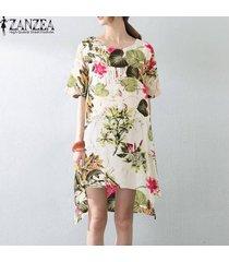 zanzea vestido de fiesta de playa con estampado floral vintage boho de una línea de flare para mujer -rojo