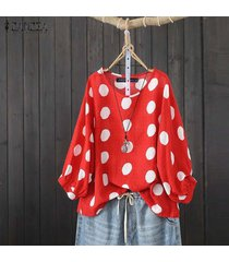 zanzea camisa casual de lunares con manga linterna para mujer blusa de cuello redondo plus -rojo